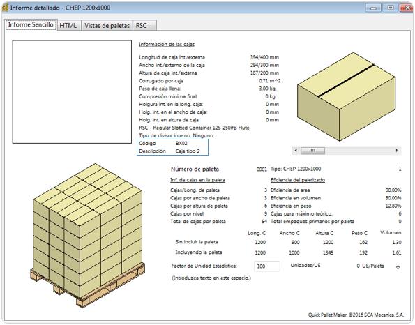 Ejemplo en quick pallet maker software de empaque - Pallets por contenedor ...